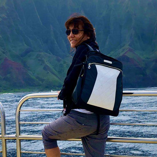 MotoChic founder Debra Chin and her Lauren bag