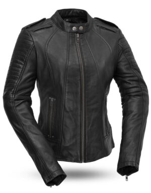 Sexy Biker Women's Leather Motorcycle Jacket
