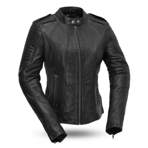 Sexy Biker Women's Leather Motorcycle Jacket