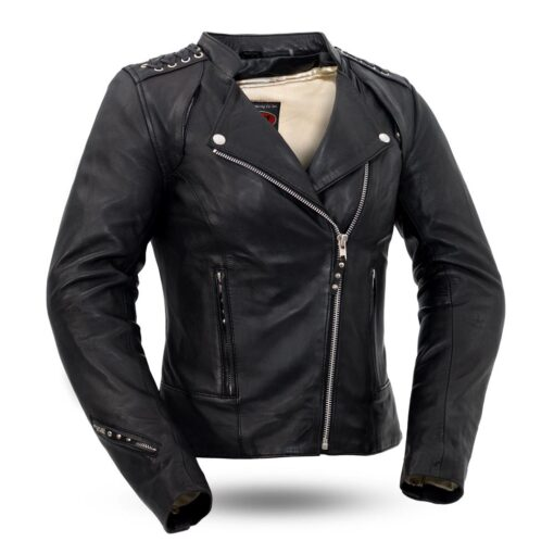 Black Widow Women's Leather Motorcycle Jacket